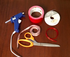 materials for bow ties- ribbon measuring tape, glue, duct tape, scissors