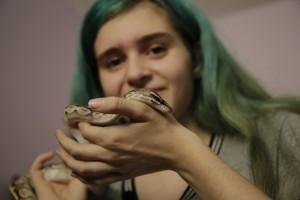 Raina with snake
