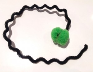DIY Cat Toy pipe cleaner and pompom completed