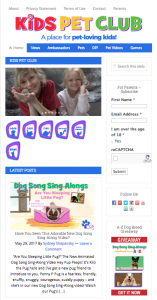 Kids Pet Club Home Page screen shot
